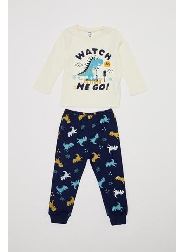 DeFacto Erkek Bebek Baskılı Pijama Takımı Ekru